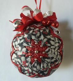Silver Red and Black Christmas Holly Quilted Ornament