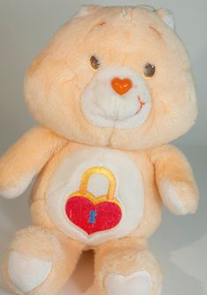 827353afed2 Vintage Care Bear Secret Bear plush Kenner 13 inches tall peach colored  bear stuffed animal with red locket and Does not talk