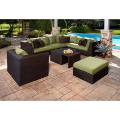 Portofino Comfort 7 Piece Deep Seating Set In Espresso
