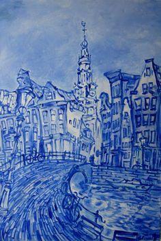 Amsterdam in het blauw - olieverf op doek - Elena Polyakova (1970-)
