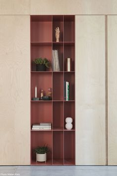 Pink colored steel along with natural birch wood - storage and division unit Designed by This Is It Design. Office Interior Design, Office Interiors, Interior Decorating, Shelving Design, Bookshelf Design, Cabinet Design, Apartment Design, Interior Architecture, Home Office