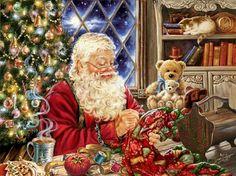 Working Cross Stitch Books, Cross Stitch Art, Counted Cross Stitch Kits, Cross Stitch Patterns, Stitching Patterns, Cross Stitching, Noel Christmas, Vintage Christmas, Father Christmas