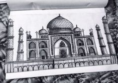 Taj mahal, drawing, monument of love, pyaar,ishq Nature Sketches Pencil, Pencil Art Drawings, Art Drawings Sketches, Cool Drawings, Taj Mahal Dibujo, Taj Mahal Drawing, Taj Mahal Sketch, Shading Drawing, Indian Art Paintings