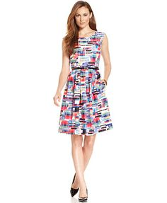 Ellen Tracy Abstract-Print Pleated Dress
