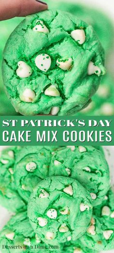 keto cookie recipes Make a festive treat in minutes with this St Patrick's day cake mix cookie recipe. The secret is a cake mix and you can whip this up quickly. Cake Mix Cookie Recipes, Cake Mix Cookies, Cookies Et Biscuits, Cookie Favors, St Patrick's Day Cookies, Easter Cookies, Summer Cookies, Heart Cookies, Valentine Cookies
