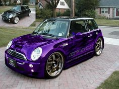 Mini Cooper S with wide body kit, bigger wheels, stunning purple chrome paint and graphics.