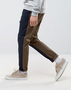 Asos Tapered Cut and Sew Pants in Navy