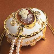 cameo jewelry box with velvet inside.  I remember this...
