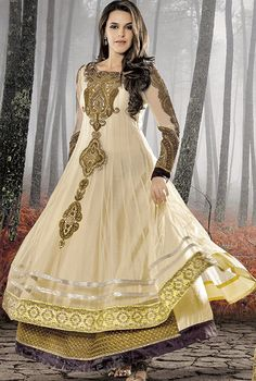 417666: Beige and Brown color family unstitched Bollywood Salwar Kameez.