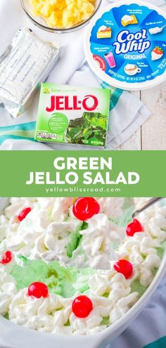 Jello Salad is a vintage recipe that's part side dish & part dessert. This green jello salad is deliciously creamy and perfect for sharing with friends! Green Jello Salad, Lime Jello Salads, Fruit Salads, Bhg Recipes, Jello Recipes, Homemade Desserts, Fun Desserts, Dessert Recipes, Pistachio Fluff