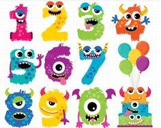 Alfa - números del monstruo (1) / monstruo Clipart - Vector Clip Art digital Clipart - descarga inmediata
