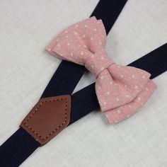 Dark Pink white dots bowties,BOWTIE SUSPENDER SET,navy blue suspenders,infant bowties,toddler bowtie,boy bowtie,men bowties,wedding bowtie