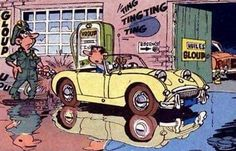 Cartoon Pics, Cartoon Art, Frog Eye, Austin Healey Sprite, Mg Midget, Mk1, Art Google, Cars And Motorcycles, Comic Art
