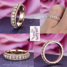 Diamond wedding band Eternity Anniversary ring 14k Yellow gold
