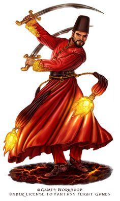 Dervish for Talisman The Firelands by feliciacano Fantasy Rpg, Medieval Fantasy, Fantasy Inspiration, Character Inspiration, Character Concept, Character Art, Fantasy Characters, Dnd Characters, Rogue Assassin
