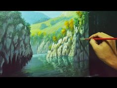 Acrylic Landscape Painting Lesson - Rocky Cliffs and River by JMLisondra - YouTube