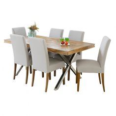 Croxley 1820 Chrome Table with 6 Cole Chairs Package