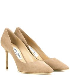 Romy 85 sand suede pumps