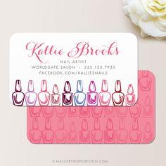 Nail Artist Business Card or Nail Salon Business Card / Calling Card / Mommy Card © MalloryHopeDesign.com