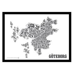 Göteborgskarta poster i gruppen Posters / Posters / Geografi hos Pritty Little Thing, Gothenburg, Industrial Chic, Illustration Art, Illustrations, Wall Art, Art Walls, Holiday, Crafts