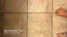 A farmhouse bathroom floor before its stenciled makeover. http://www.cuttingedgestencils.com/augusta-tile-stencil-design-patchwork-tiles-stencils.html