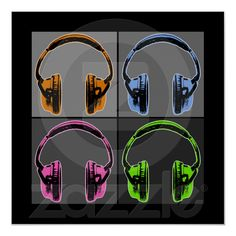 Four Graphic Headphones Poster pop art Andy Warhol style. Pop Art Design, Wildlife Nature, Keith Haring, World Leaders, Custom Posters, Music Love, Video Photography, Shades Of Grey, Graphic