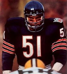 One of the most feared players in NFL History, Dick Butkus was an unmistakable presence on the football field, earning eight Pro Bowl nods and six First Team All-Pro . and one scary dud on the football field Nfl Football Players, Bears Football, Nfl Chicago Bears, Football Baby, School Football, Football Field, Baseball, Football Helmets, Chicago Bears Pictures