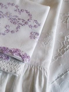 Vintage White Linen with Lilac Embroidery & Crochet Edging . Embroidery Patterns, Hand Embroidery, Embroidery Stitches, Lavender Cottage, French Lavender, Purple Home, Romantic Cottage, Shabby Cottage, Linens And Lace