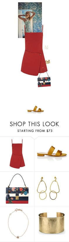 """""""Outfit of the Day"""" by wizmurphy ❤ liked on Polyvore featuring Opening Ceremony, Barneys New York, Gucci, Kismet, Blue Nile, ootd and playsuit"""