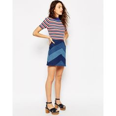 ASOS Denim A-Line Mini Skirt With Chevron Patchwork ($43) ❤ liked on Polyvore featuring skirts, mini skirts, blue, short white skirt, a-line skirt, a line denim skirt, blue a line skirt and white mini skirt