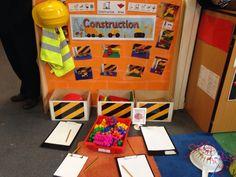 Construction theme mark making Eyfs Classroom, Classroom Displays, Classroom Ideas, Play Based Learning, Early Learning, Construction Area Ideas, Construction Area Early Years, Role Play Areas, Block Area