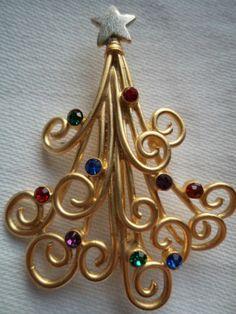 "Vintage Signed JJ Brooch ""Gold Christmas Tree Twirl with Rhinestones"" | eBay"