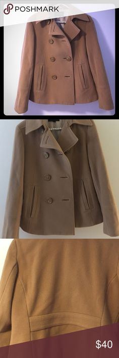 Express Wool winter Coat Caramel size 10 Excellent like new condition - never worn. Please note: this is missing 1 button. Hip length.  75% wool, 20% nylon and 5% cashmere. Lining - Express Jackets & Coats