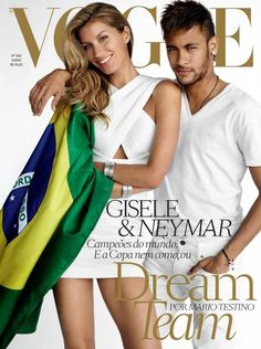mirnah: Landing yet another Vogue cover, Gisele Bundchen joins football star Neymar for Vogue Brazil's June cover. The pair pose for Mario Testino wearing the Brazilian flag and matching white looks. Vogue Covers, Vogue Magazine Covers, Fashion Magazine Cover, Fashion Cover, Fashion Tape, Vogue Fashion, High Fashion, Fashion Beauty, Mario Testino