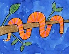 Draw a Simple Snake · Art Projects for Kids. With just a little planning, you can draw a snake that looks like it's wrapped around a branch. Perfect for a report about tree climbing snakes. Jungle Art Projects, Animal Art Projects, Projects For Kids, Kids Crafts, Snake Drawing, Snake Art, Watercolor Projects, Drawing Projects, Watercolor Painting