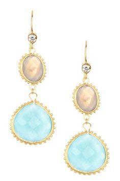 18K Gold Clad Chalcedony & Quartzite Double Dangle Simulated Diamond Hook Earrings