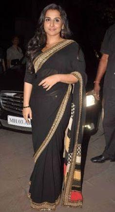 Vidha Balan Chataka Pataka Bollywood Celebrity Replica Black Saree