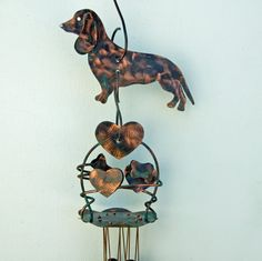 DACHSHUND Dog Wind Chime / Pet Memorial / Garden Artl / Copper Metal Yard Art / Outdoor Home Decor / Pet Memorial / Handmade / Dog Ornament