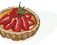 Strawberry Tart by Tamalia Strawberry Tart, Art Studies, My Drawings, Behance, Illustration, Illustrations