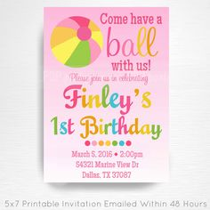 Ombre Pink Girl Beach Ball Birthday Party Printable Invitation YOU Print Hombre This is an emailed file, nothing will be shipped to you. Beach Ball Birthday, Ball Birthday Parties, Printable Invitations, Party Printables, Pink Girl, Boy Or Girl, Girl Beach, Handmade Gifts, Etsy
