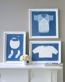 From Martha Stewart: Little socks, baby tees, and tiny sweaters -- the makings of an infant's first wardrobe are so impossibly small, and so quickly outgrown, you'll want to be reminded of them in the years to come. Put their captivating forms on display with framed sun prints; the bright-blue color and translucent effect of the cyanotype process yield images that are bold yet subtle. The technique is simple: Pin the clothing to special light-sensitive paper, cover with Plexiglas, and expose…