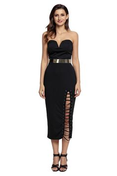Black Strapless Sweetheart Side Slits Tube Midi Dress