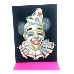 Vintage Velvet Clown Art, Velvet Clown,Clown,Circus CLOWN,Smiling Clown,Creepy Cute,Mod,MCM,Circus, Velvet Painting, Vintage Clown Art,1960s by JunkYardBlonde on Etsy https://www.etsy.com/listing/460569070/vintage-velvet-clown-art-velvet