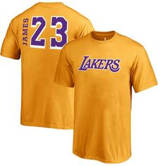 b1e6b5c9646 LeBron James Los Angeles Lakers Fanatics Branded Youth Sidesweep Name    Number T-Shirt – Gold