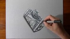 ONE DOLLAR BILL crazy 3D illusion drawing! drawing by: Marcello Barenghi