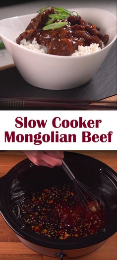 Slow Cooker Mongolian Beef Recipe | Here's a crock pot meal sure to impress! With only a handful of ingredients--flank steak, cornstarch, olive oil, garlic, ginger, chili flakes, soy sauce, brown sugar, carrots & green onions--and a few minutes to prep, it's a great weeknight dinner for family and friends.