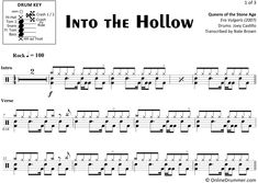 """Learn to play """"Into the Hollow"""" with this note-for-note drum sheet music."""