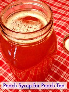 Peach Syrup for Peach Tea http://recipesforourdailybread.com/2012/07/06/peach-tea-recipe-southern/