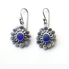 Cobalt Blue Sea Glass and Recycled Silver Earrings by Tania Covo