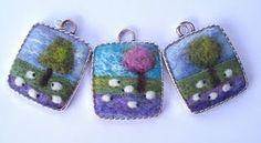 Felted sheep pendants--love, love! Adorable!